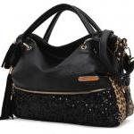 Tassels Sequined Leopard Handbag Shoulder Bag