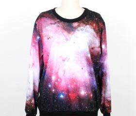 Galaxy Sweater Jumper Cosmic Light Sweatshirt T-Shirt Long Sleeve Black Women Shirt Tshirt Unisex--1005