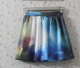 Fantasy Galaxy Print Elastic Skirt