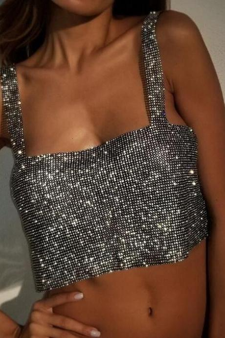 Club Party Sparkly Crystal Rhinestone Metal Chainmail Halter Draped Bra Crop Top