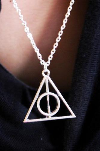 Antique Silver Harry Potter The Deathly Hallows Necklace Pendant Charms!!!