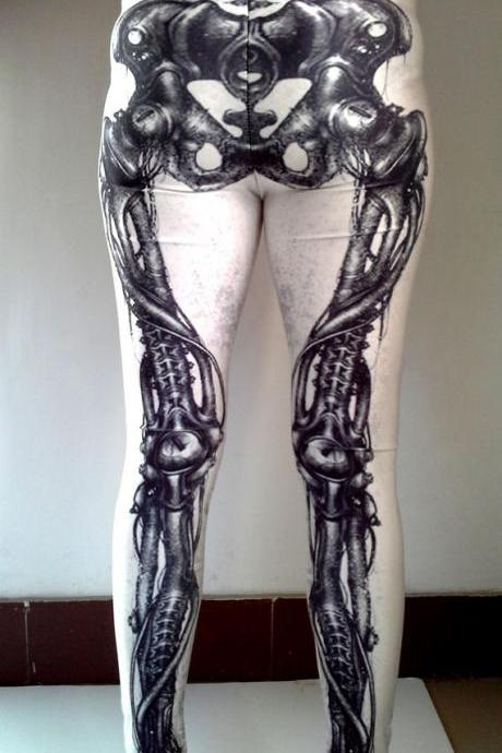 Mechanical BonesLeggings- Printed Leggings- Leggings- Pants- Tights-