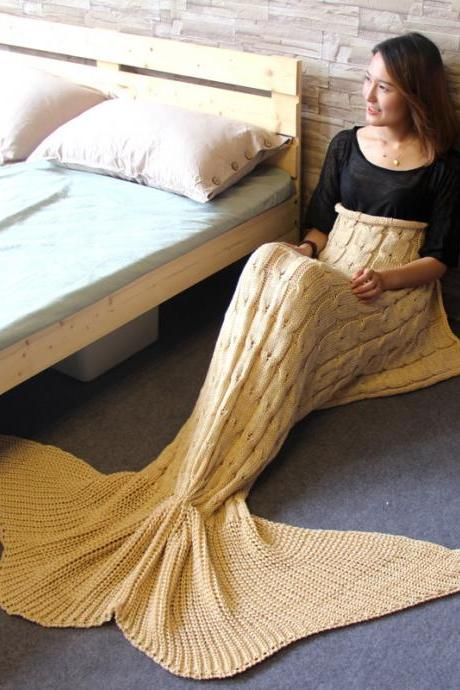 Handmade Crocheted Mermaid Tail Cocoon Sofa Sleeping Bag Knit Lapghan Blankets