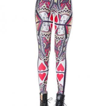 Poker Queen printed legging-playing card invitation Leggings-Trendy Women Clothing-(NOT butterfly tattoo tights cat baby yoga pants cotton)